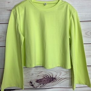 BP Yellow Cropped Crewneck Top With Shoulder Pads